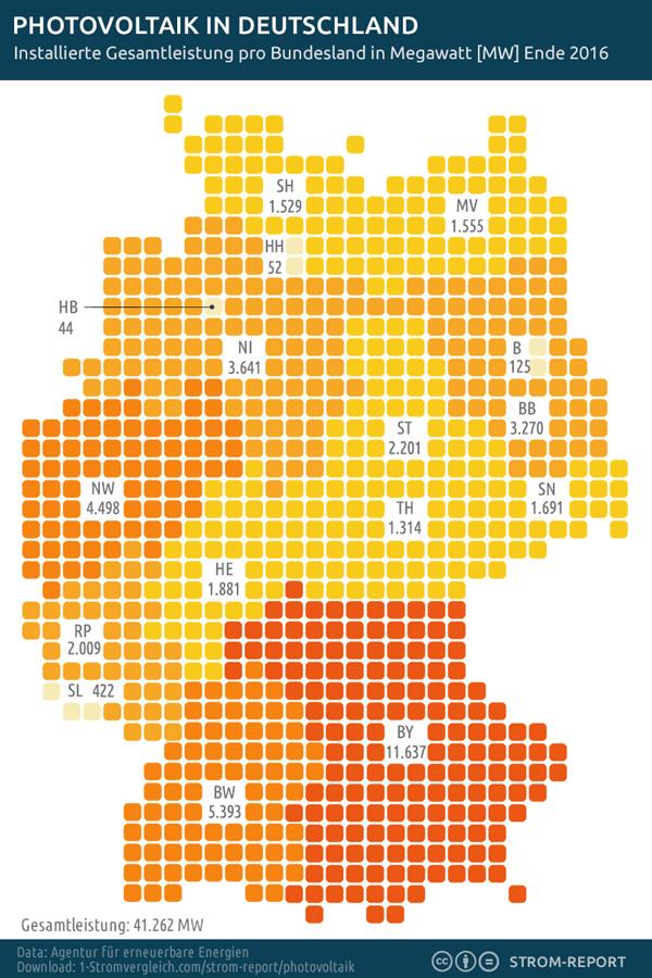 Karte Photovoltaik Verteilung Deutschland