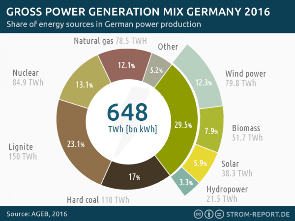 germany gross power generation, electricity mix, 2016