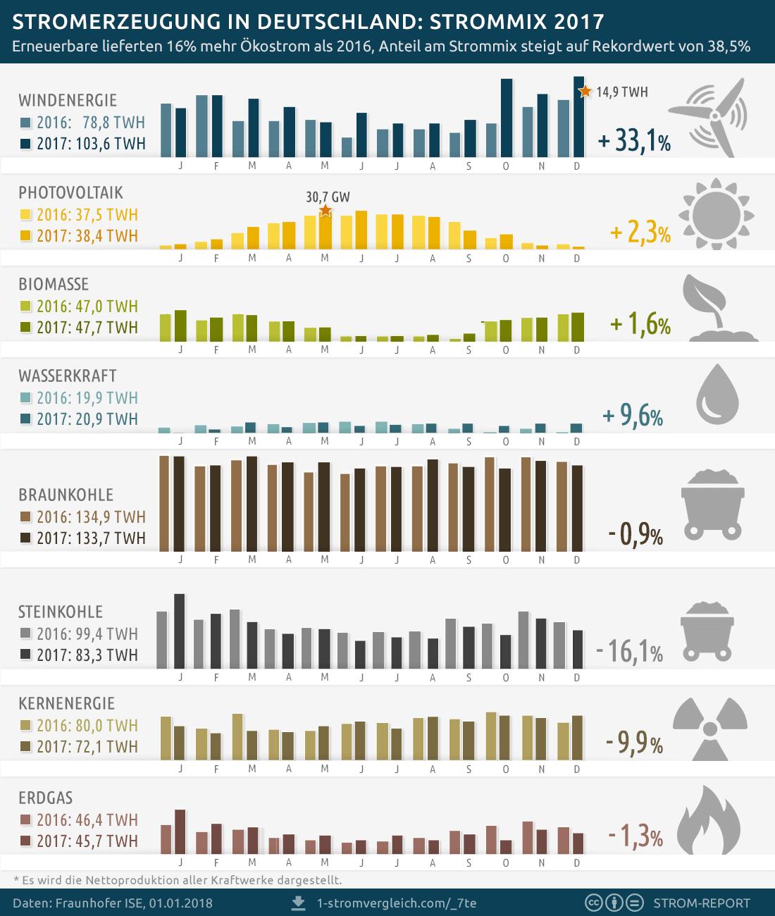 Stromerzeugung Deutschland 2017, Strommix
