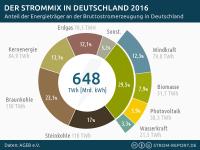 Stromerzeugung Deutschland 2016: Strommix